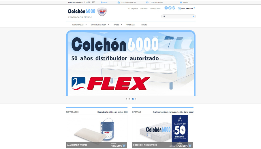Tienda online de colchones Flex, almohadas Flex y bases Flex