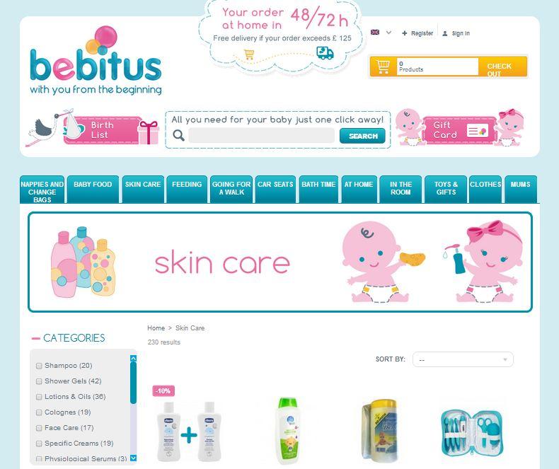 Tienda Prestashop Bebitus Reino Unido