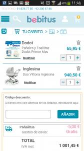 Bebitus versión móvil: finalizar compra