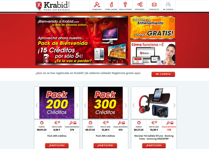 Krabid nueva tienda Prestashop de subastas online