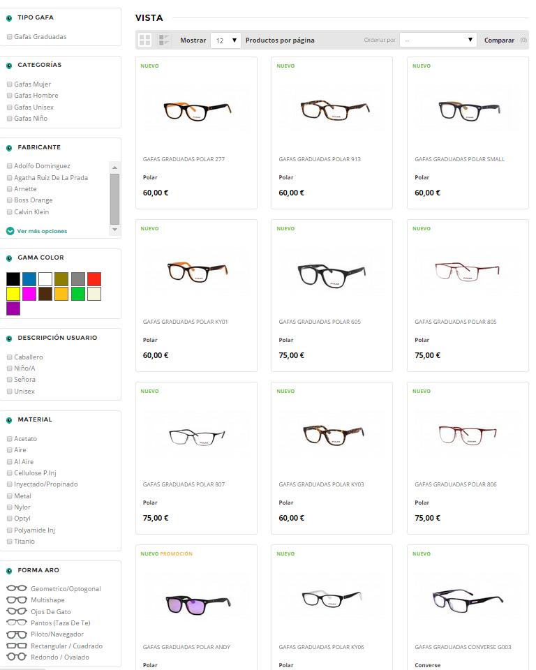 filtro catalogo Eyeclic